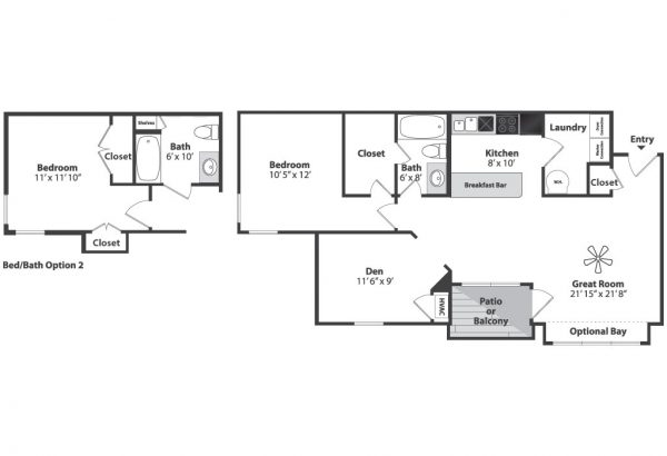 One bedroom den floor plan napcincinnati for Apartment floor plans 1 bedroom with den