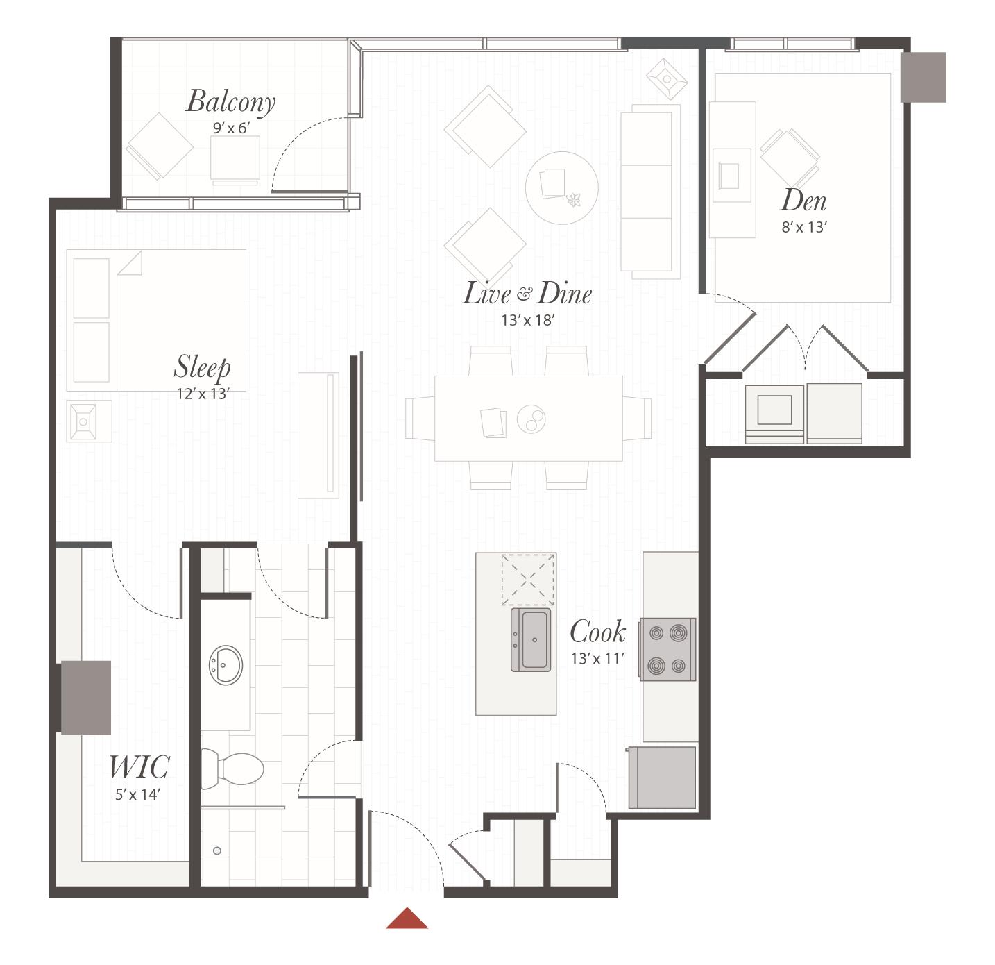 B5 Floor Plan - 1 Bedroom With Den Apartment | Cincinnati, OH