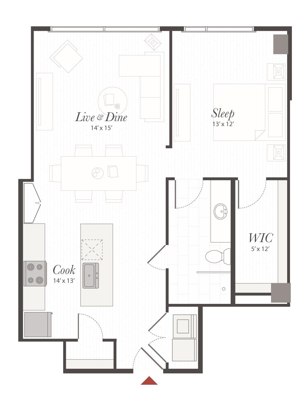 X3 Floor Plan - 1 Bedroom Luxury Apartment | Cincinnati, OH