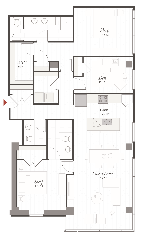 T9 - 2 Bedroom Apartment Cincinnati | Encore Apartments