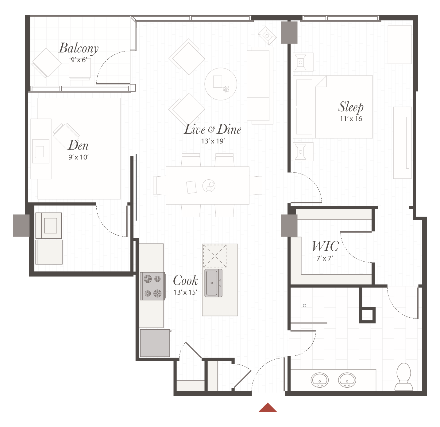 B3 floor plan 1 bedroom with den apartment cincinnati oh for Apartment floor plans 1 bedroom with den
