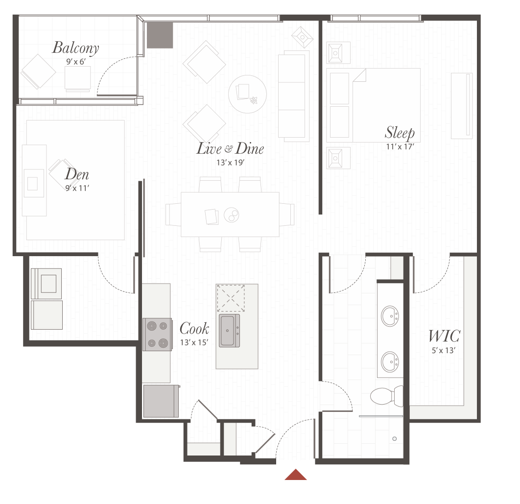 B4 floor plan 1 bedroom with den apartment cincinnati oh for Apartment floor plans 1 bedroom with den