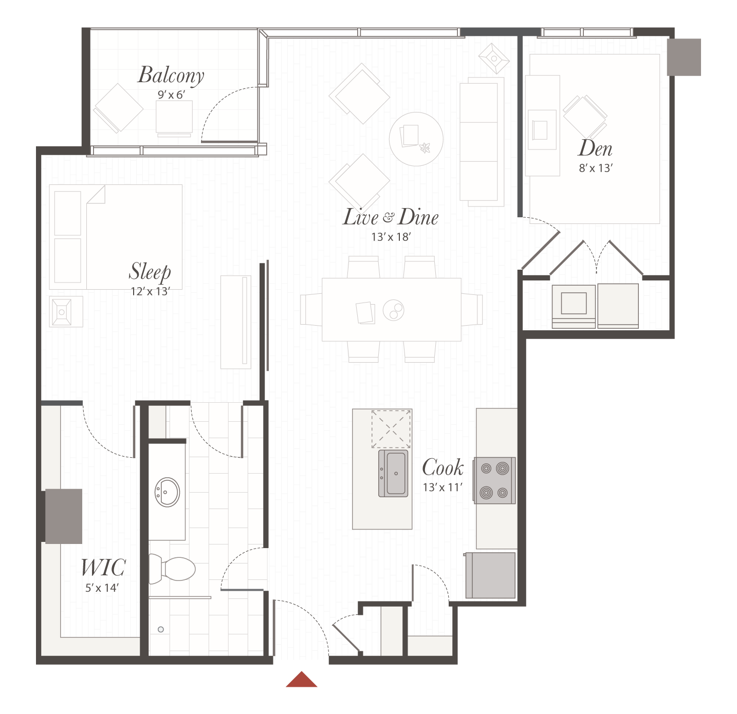 B5 floor plan 1 bedroom with den apartment cincinnati oh for Apartment floor plans 1 bedroom with den