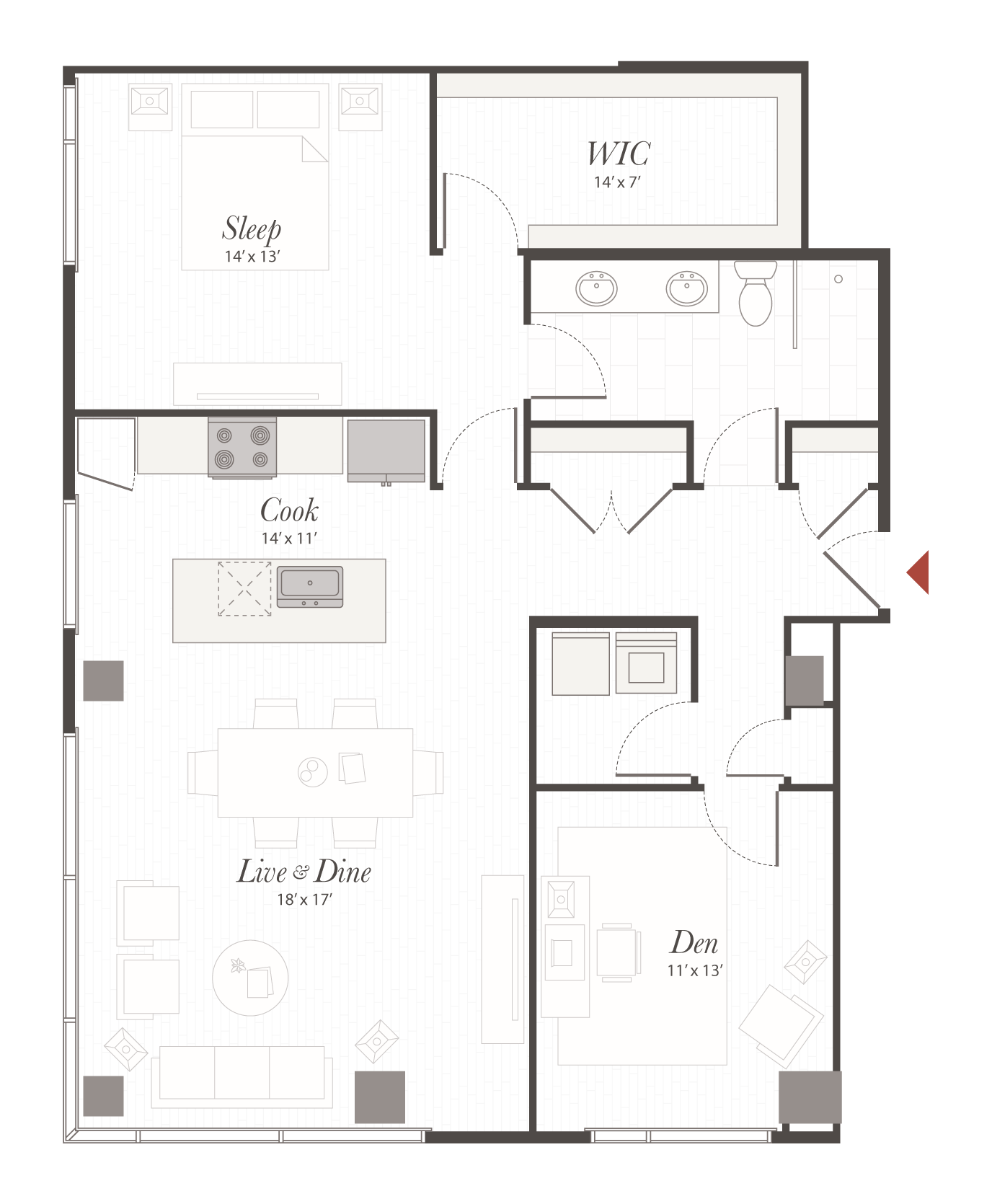 P10 floor plan 1 bedroom with den apartment cincinnati oh for Apartment floor plans 1 bedroom with den