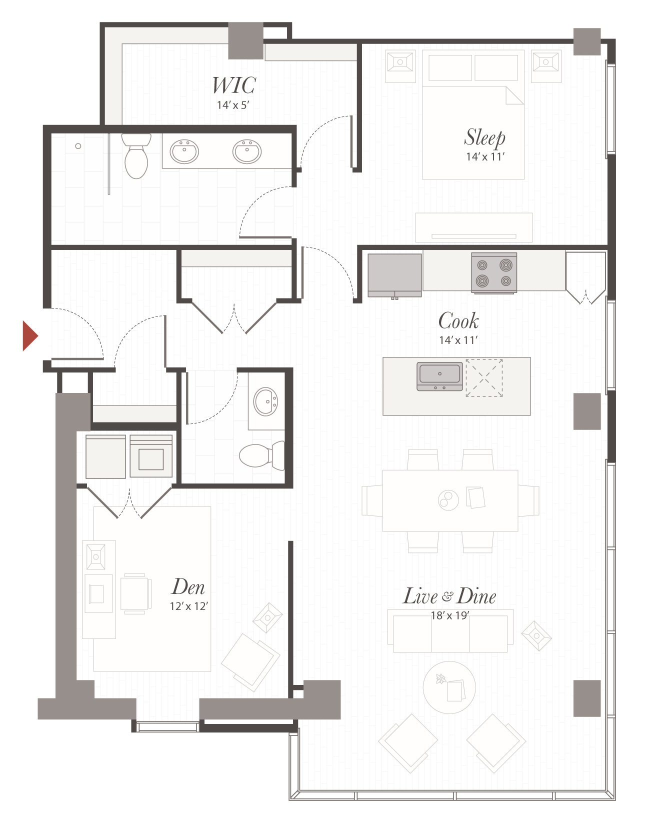 P11 floor plan 1 bedroom with den apartment cincinnati oh for Apartment floor plans 1 bedroom with den