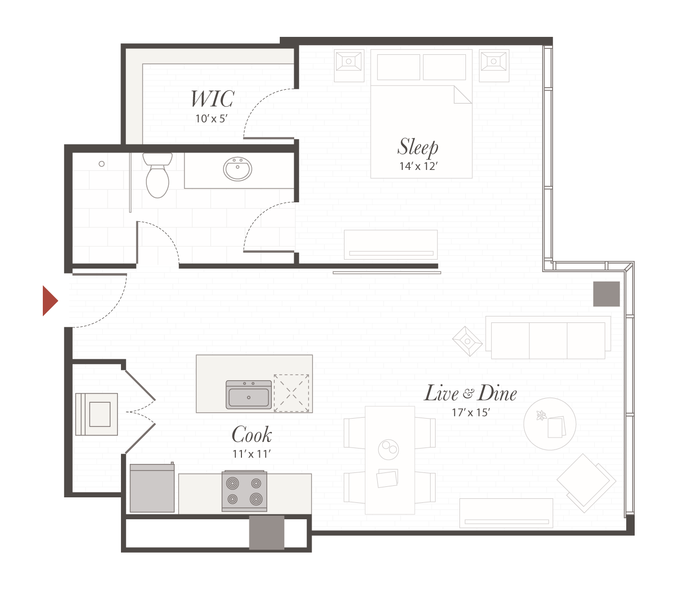 P5 Floor Plan 1 Bedroom Luxury Apartment Cincinnati Oh