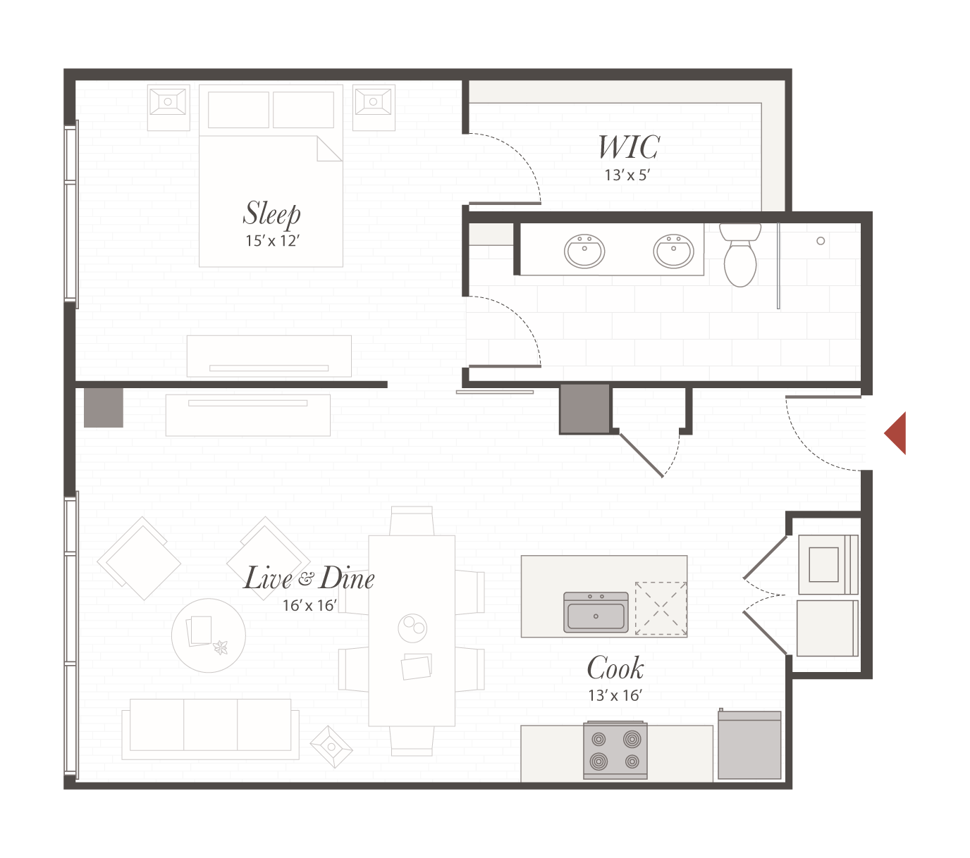 P6 Floor Plan 1 Bedroom Luxury Apartment Cincinnati Oh