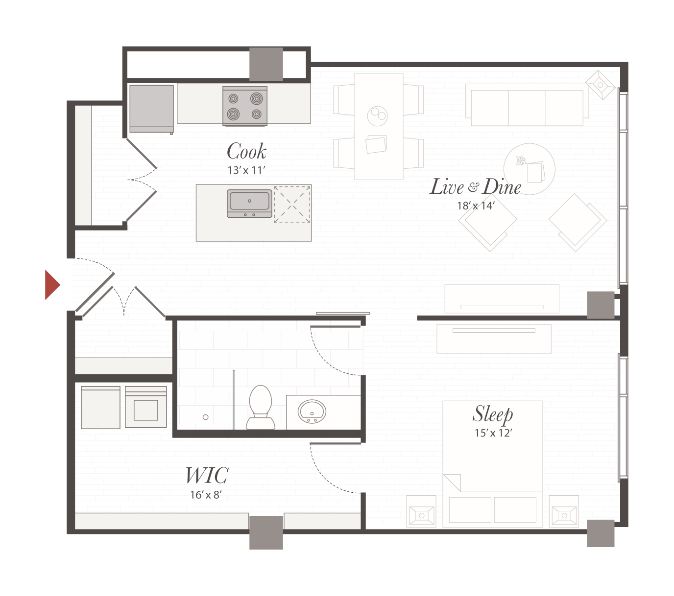 P7 Floor Plan 1 Bedroom Luxury Apartment Cincinnati Oh