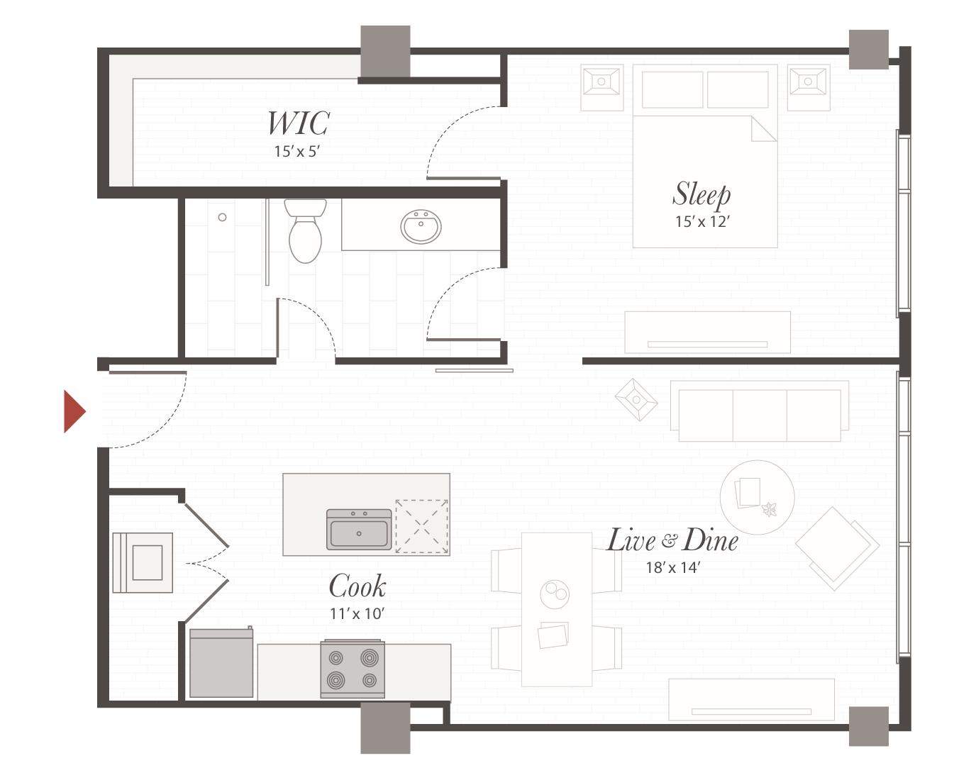 1 Bedroom Luxury Apartment Floor Plans Floor Plan Ideas