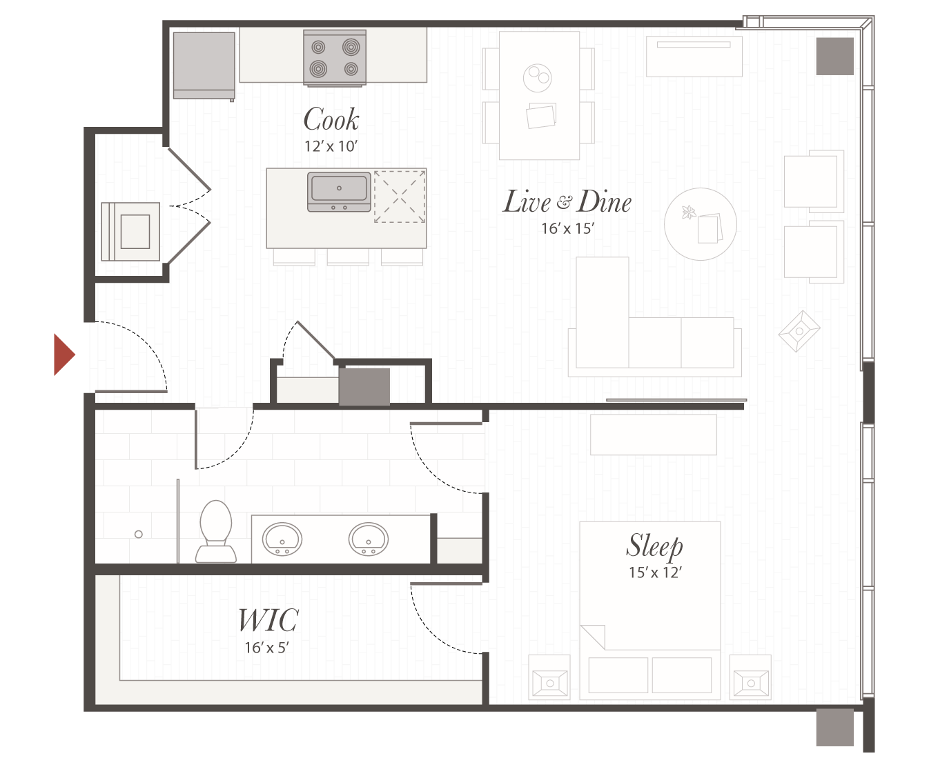 T5 Floor Plan 1 Bedroom Luxury Apartment Cincinnati Oh