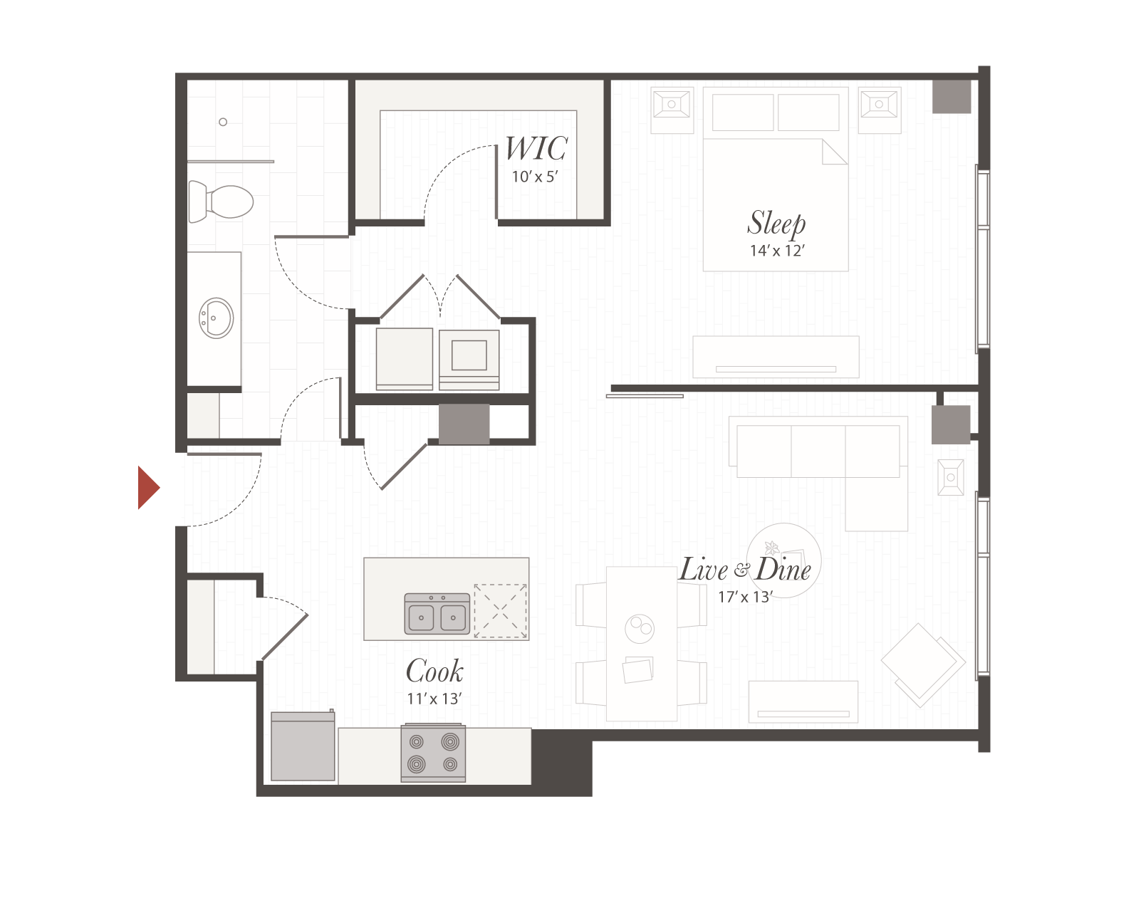 T7 Floor Plan 1 Bedroom Luxury Apartment Cincinnati Oh