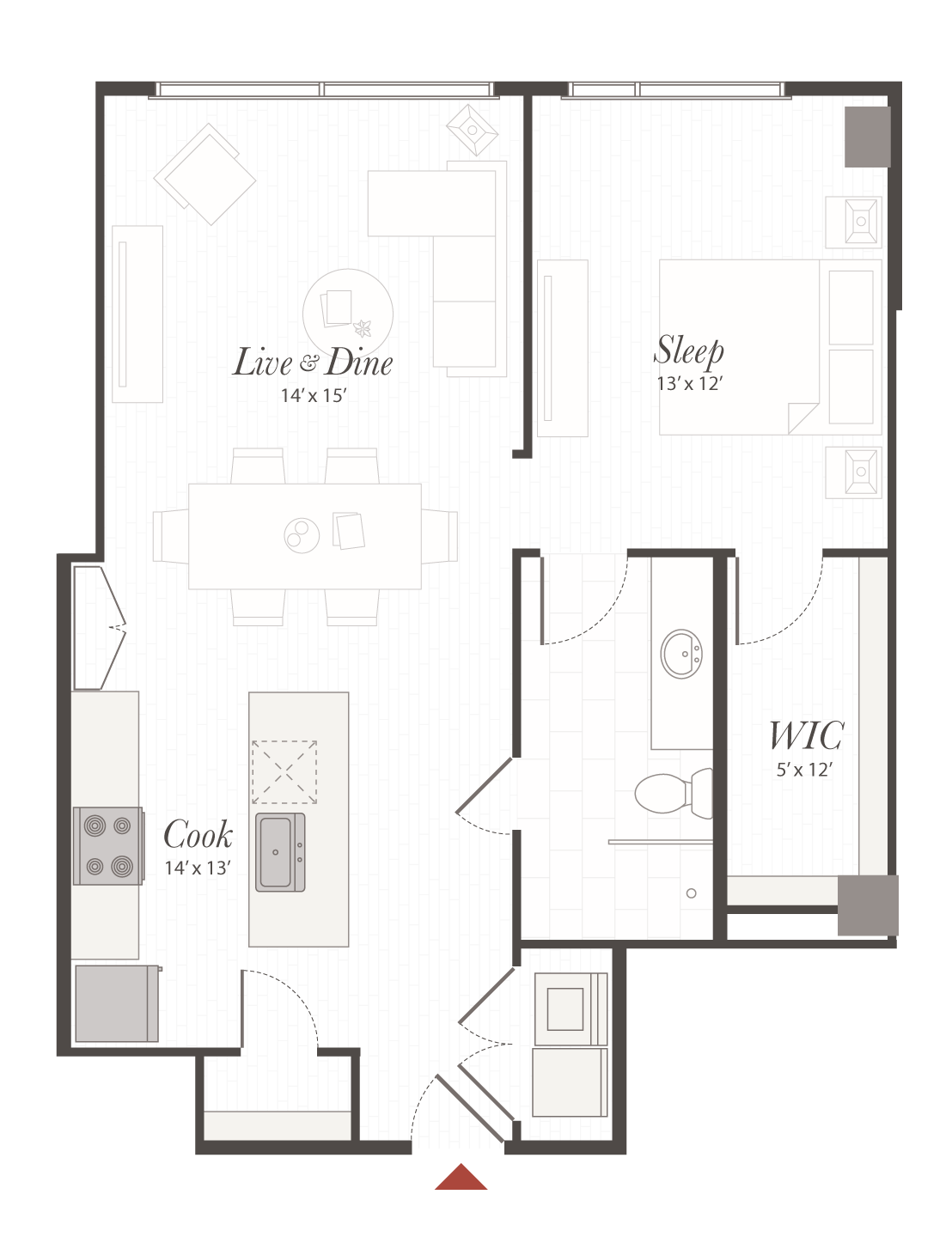 X3 Floor Plan 1 Bedroom Luxury Apartment Cincinnati Oh