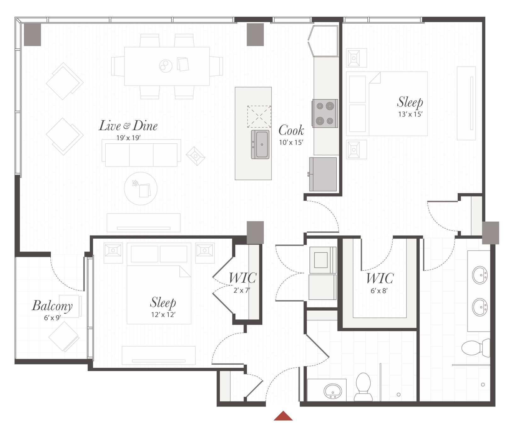 B1 2 bedroom apartment cincinnati encore apartments - 2 bedroom apartments in cincinnati ...