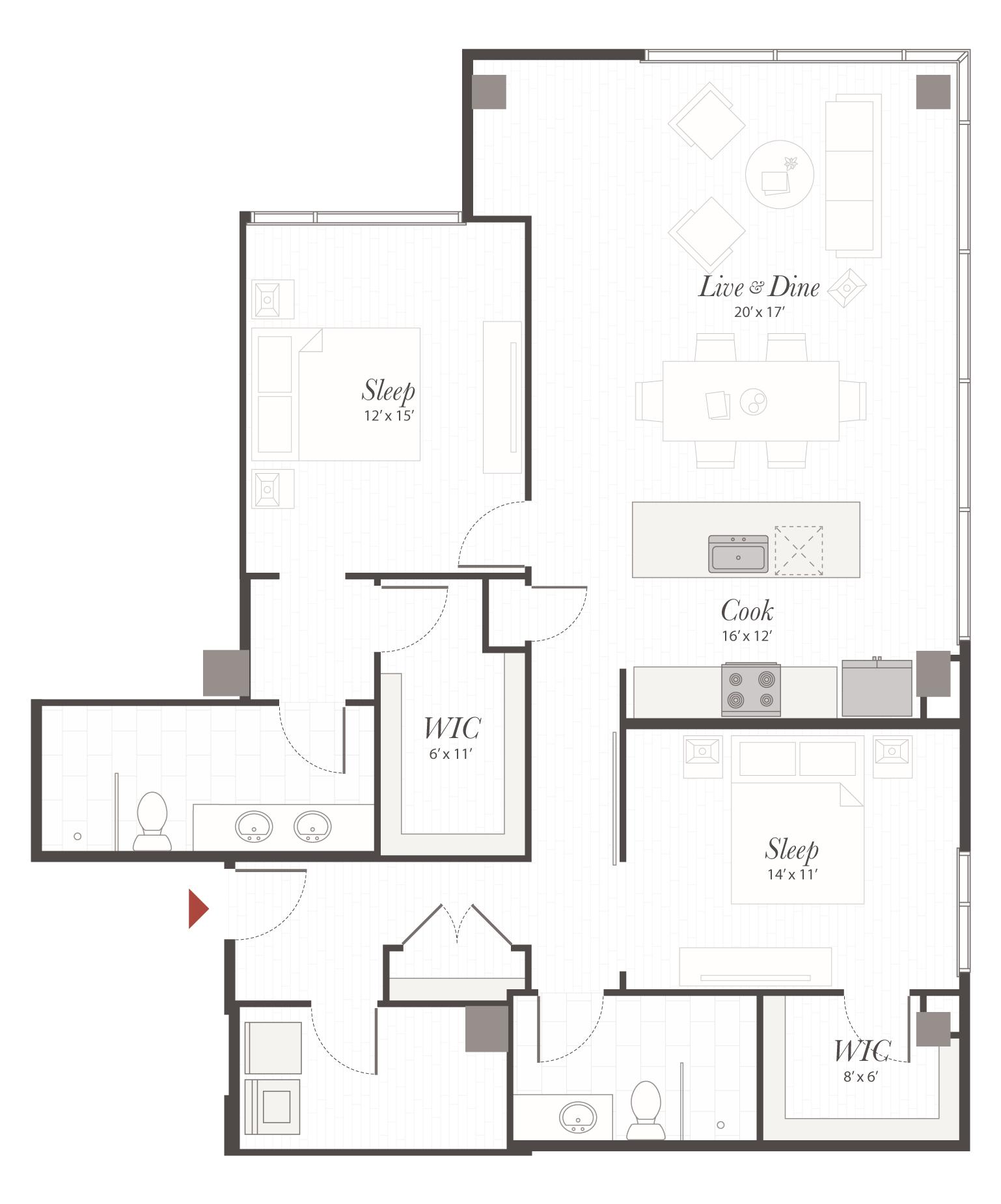 4 Bedroom Apartment Floor Plans: P4 - 2 Bedroom Apartment Cincinnati