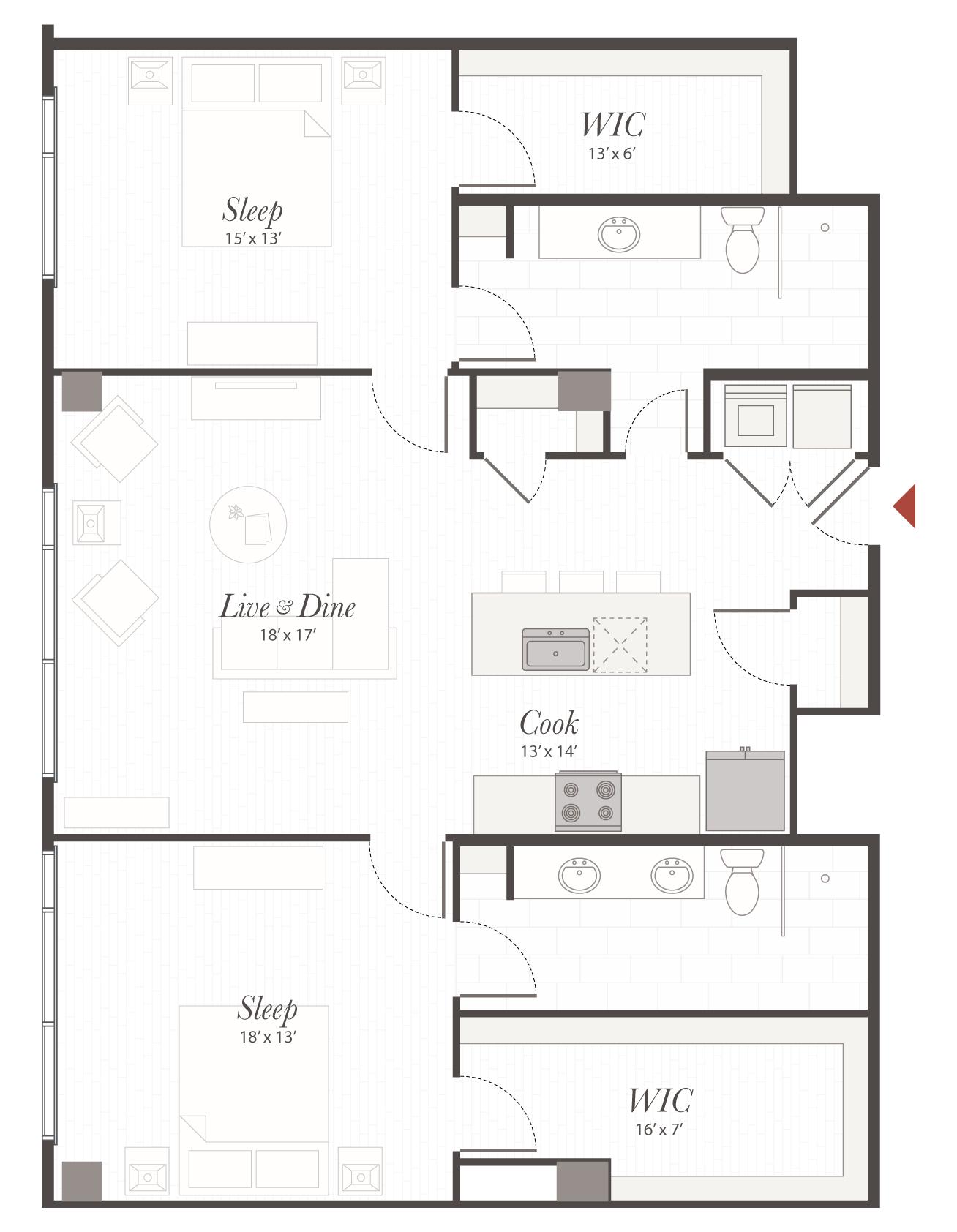 T6 floor plan 2 bedroom luxury apartment cincinnati oh - 2 bedroom apartments in cincinnati ...